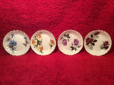 Gorgeous Set of 4 English Fine Bone China Butter Pats, p258