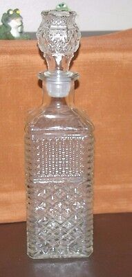"""Wexford Hocking Liquor Square Decanter With Stopper 12 3/4""""t Diamond Pattern"""
