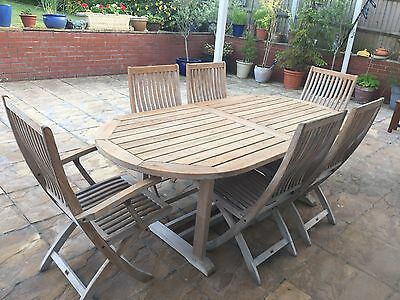 Gloster Wooden Extending Garden Table And 6 Chairs