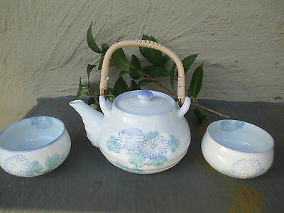 Beautiful Asian Teapot - White With Blue Floral Detail & Cane Handle & 2 Cups