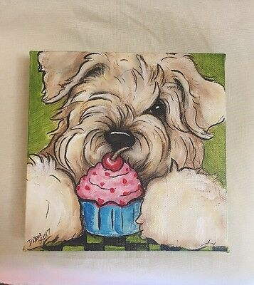 Wheaten  Terrier Hand painted Canvas Original Art By Darci Copy Right 2017