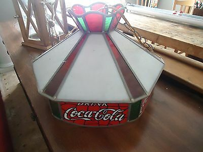 Vintage Stain Glass Coca-Cola Swag Hanging Lamp-1970-Advertising-Soda Shoppe