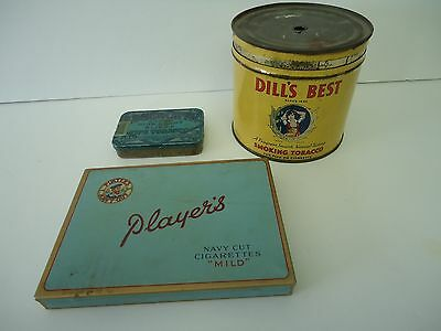 Vintage Tobacco Tins-Players-Dill's Best-Edgeworth-Pipe-Lot X3
