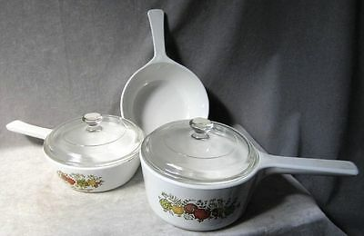 Corning Ware Pots Lot of 3 Spice of Life with 2 clear lids 2: pints /1: 1 liter
