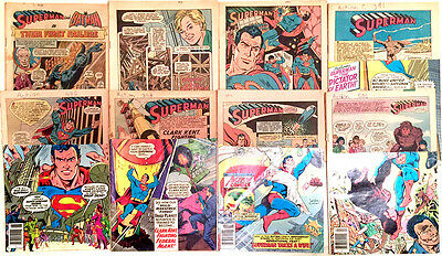 Set of 7 ACTION comics & 1 WORLD'S FINEST comic from DC in low grade mastheaded