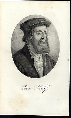 John Wycliffe Influential English Theologian c.1825 old antique portrait print