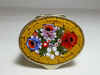 Lovely Vintage Italian Micro Mosaic Oval Pill Box