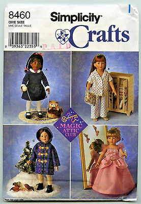 "Sewing Pattern Simplicity #8460 Doll Clothes For 18"" Magic Attic Club Dolls Uc"