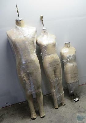Lot Of 3 Wolf Tailor Mannequin Girls Size 10 & 12 Men Size 40 Collapsible Models