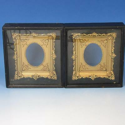 Pair of Antique Victorian Gold Gilt Frames in Black Shadow Boxes for 2½ by 3½