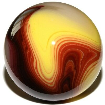 """Egg Yolk Oxblood - Mint 3/4"""" Akro Agate Marble Mimic Placeholder by Carl Fisher"""