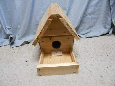 Handmade unfinished cedar bird house & feeder