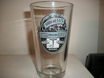Guinness's Extra Foreign Stout- Cork Screw Brand- Beer Glass