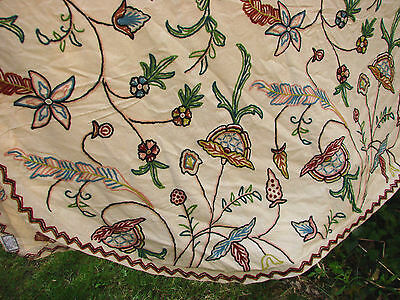 """Vintage Coverlet Bedspread Embroidered India Jacobean 96x112"""""""