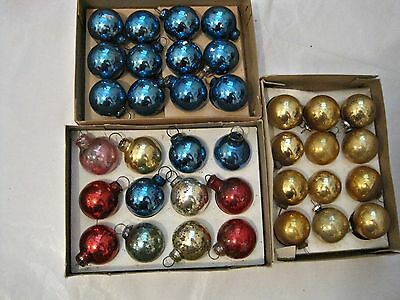 36 VINTAGE GLASS ORNAMENTS SHINY BRITE small CHRISTMAS ORNAMENTS IN BOXES