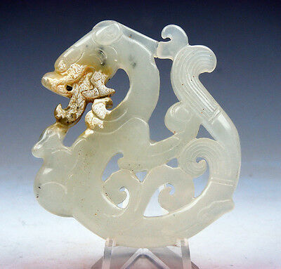 Antique Nephrite Jade Carved LARGE Pendant Sculpture Curly Dragon #04111707