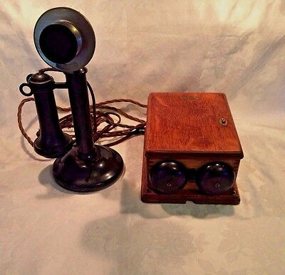 Antique Western Electric 1915 Candlestick Phone & Oak Box Ringer Original