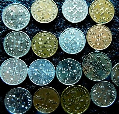 17 Old Finland Coins from 1950s thru 1970s See deatiled pics    A20-485