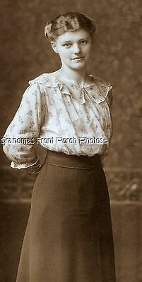Antique Cabinet Photo Sweet Young Woman Delicate Blouse Gentle Expression  Eu