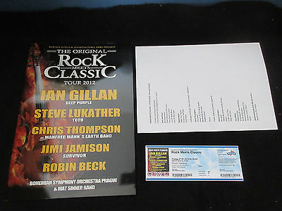 Rock Meets Classic 2012 Tour Book w Ticket Ian Gillan Deep Purple Lukather TOTO
