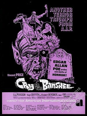 1970 Vincent Price Cry Of The Banshee movie release vintage trade ad