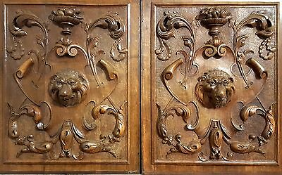 LION SCULPTURE PANEL MATCHED PAIR ANTIQUE HAND CARVED WOOD SALVAGED CARVING 19th