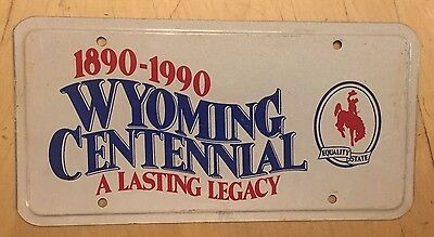 "Wyoming Official Anniversary Front License Plate Wyo Centennial "" 1890  1990 """