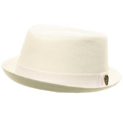 ab2b04610ee Men s Summer Cotton Upturn Brim Retro Lining Pork Pie Fedora Hat White S M  56cm