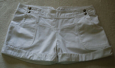 TOPSHOP WHITE DENIM SHORTS SUMMER HOLIDAY OUTFIT size 14