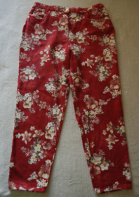 Gardeur Casual Tapered Stretch Trousers Red Light Denim Floral Print 18/20 Uk