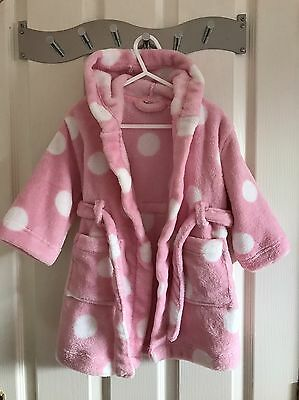 JOHN LEWIS Baby Girl Hooded Pink Spot Robe. 12-18 Mths. *EXCELLENT COND*