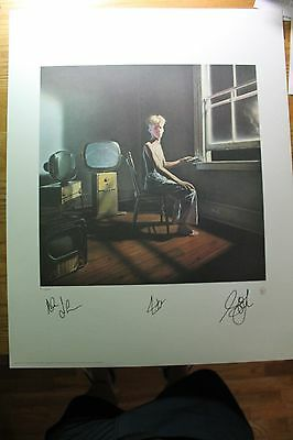 RUSH Hand Signed Art POWER WINDOWS Geddy Lee Alex Lifeson Neil Peart COA+Pic