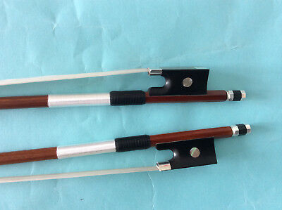 2pcs Top grade 4/4 size violin bows pernamb ebony frog silver mounted