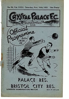 Crystal Palace v Bristol City Reserves Programme 30.11.1935