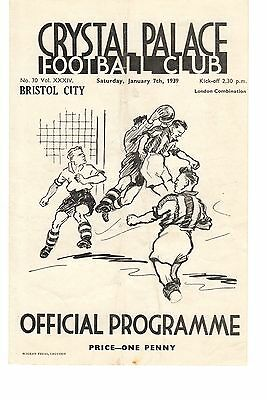 Crystal Palace v Bristol City Reserves Programme 7.1.1939