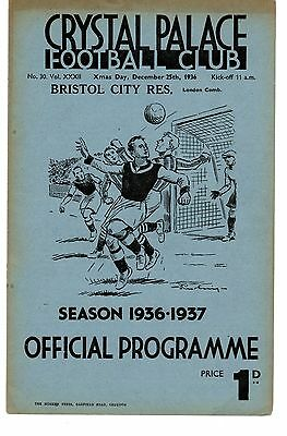Crystal Palace v Bristol City Reserves Programme 25.12.1936