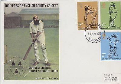 Gb Stamps First Day Cover 1973 Official Tccb Cricket Cover Worcester Rares