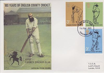 Gb Stamps First Day Cover 1973 Official Tccb Cricket Cover Canterbury Rares