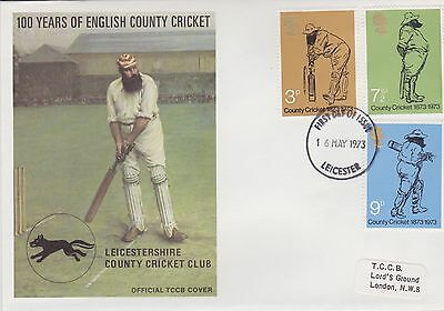 Gb Stamps First Day Cover 1973 Official Tccb Cricket Cover Leicester Rares