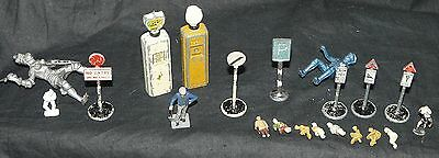 Collection of Dinky Road Traffic Signs and Petrol; Pumps & other Misc Figurines