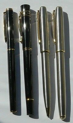 2 Pairs Modern Fountain and Ballpoint Pens Black & Silver Bookworm & Other