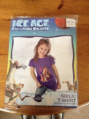 Girls Purple T-Shirt - Ice Age Collision Course 2-4 Years ( Bnwt ) Holidays