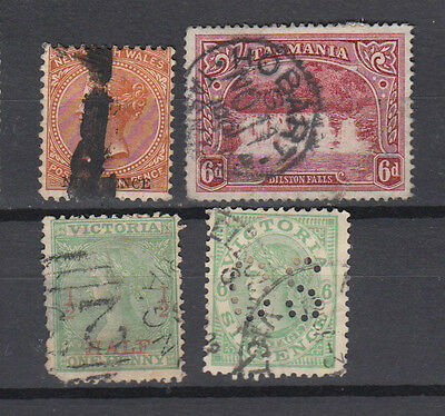 Four nice mixed Australian  States issues with nice 9d overprint