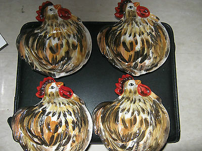 Tabletop Gallery Rooster Appetizer Bowls Set of 4 Hand Crafted