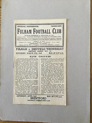 FULHAM v SHEFFIELD WEDNESDAY 1948/9.