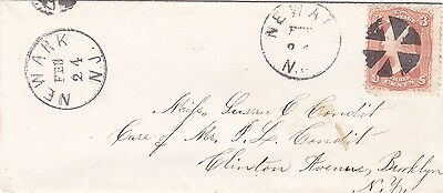 USA : EARLY 3 CENT COVER, FROM NEWARK, NEW JERSEY TO BROOKLYN, NEW YORK (1860s)