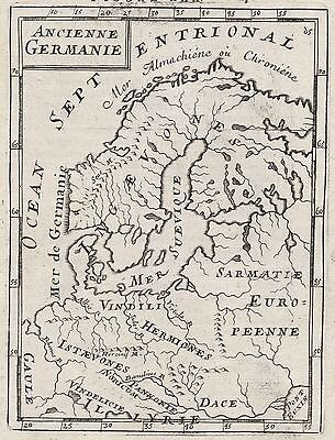 1683 Scandinavia Ancient Germany 17th Century Copper Plate Engraved Map Mallet