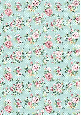 dolls house wallpaper blue with roses x 2