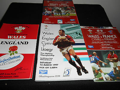 Rugby Union Programmes(7)WALES v FRANCE  and others