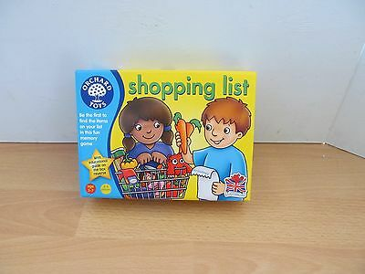 Orchard Toys Shopping List Memory Game Age 3 - 7 Years Vgc